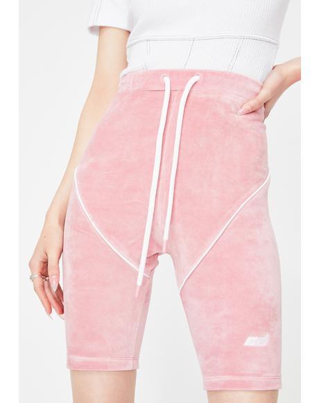Pink Velour Biker Shorts