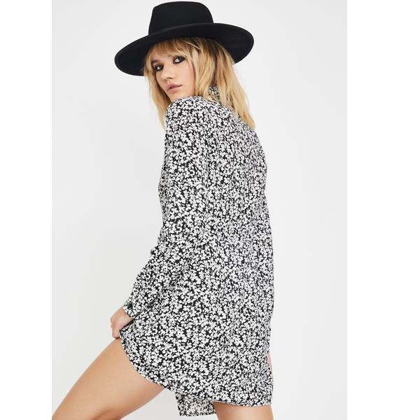 Glamorous Black White Mini Floral Shirt Dress