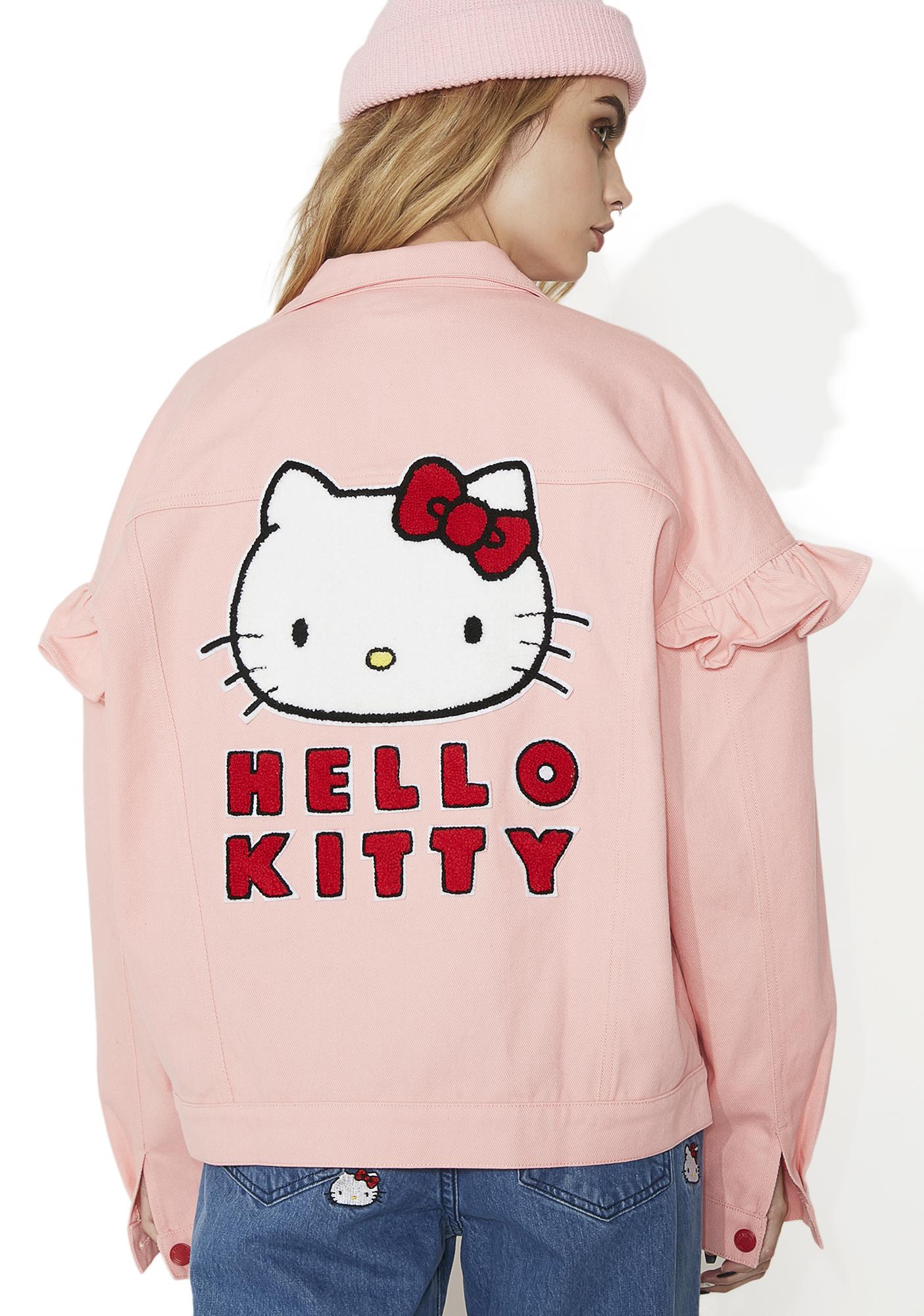 Lazy Oaf Hello Kitty Frilly Denim Jacket