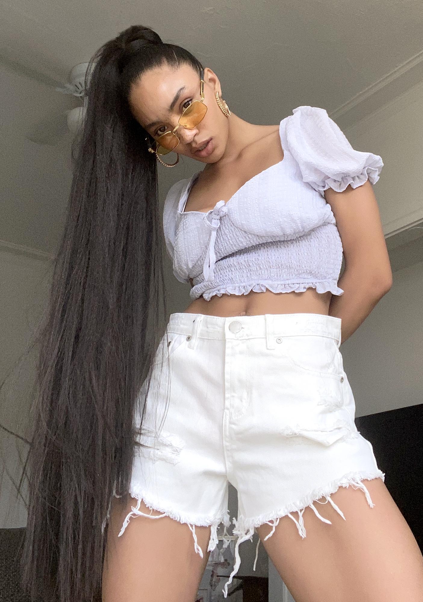 Glamorous White Distressed Denim Shorts
