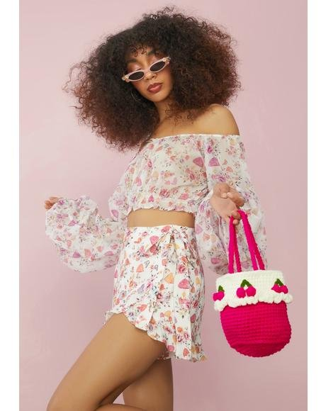 Kiss In Tartness Crochet Bucket Bag
