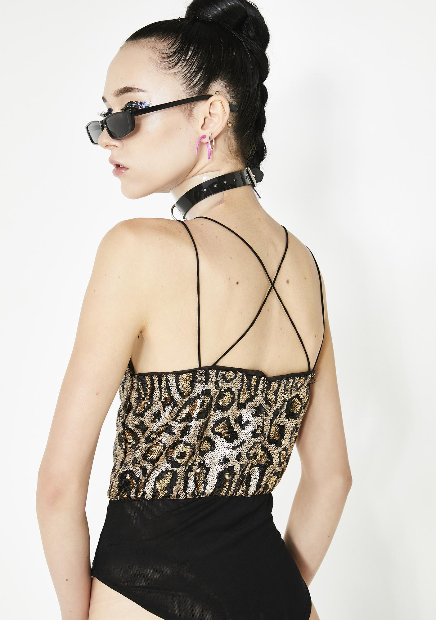 Glitzy Kitten Sequin Bodysuit
