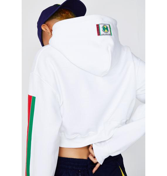 Cross Colours Label Logo Crop Hoodie