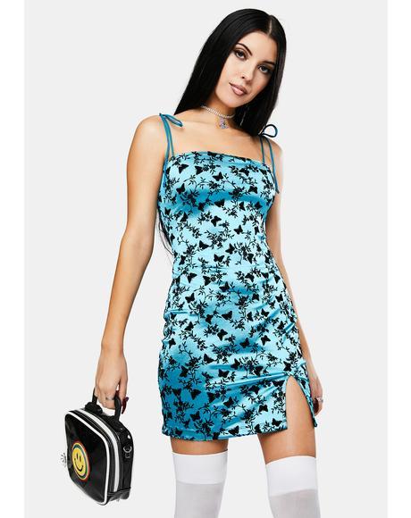 Butterfly Bloom Blue Verso Mini Dress