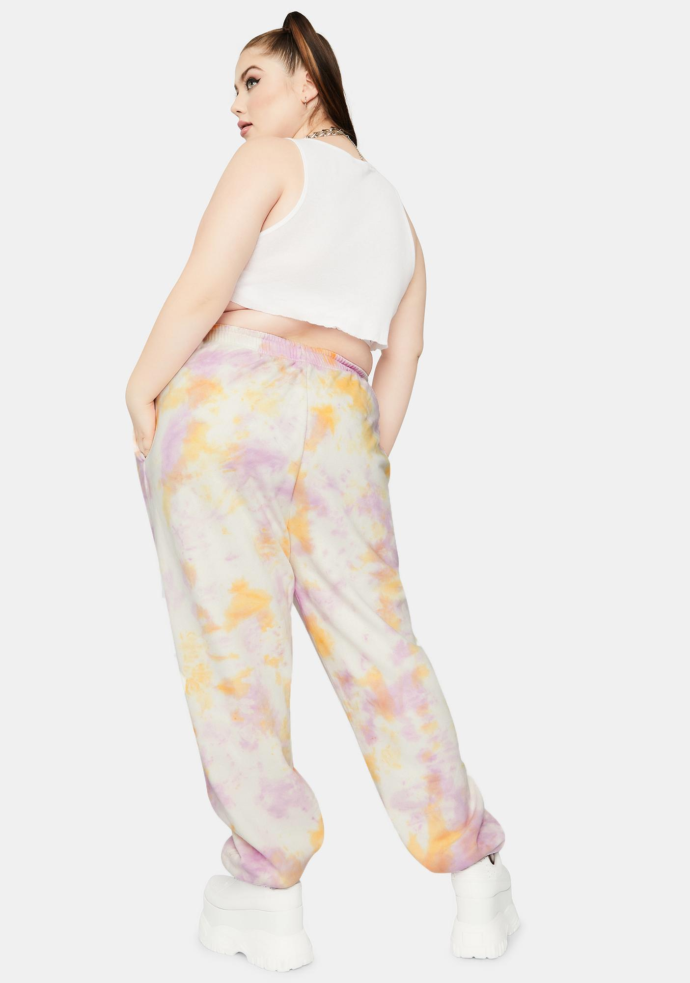 NEW GIRL ORDER Curve Strawberry Tie Dye Sweatpants
