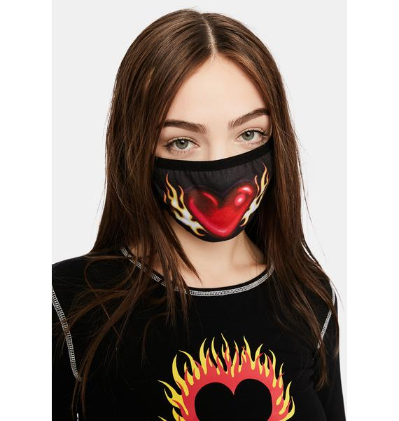 dELiA*s by Dolls Kill Let's String The Lights Flame Heart Mask