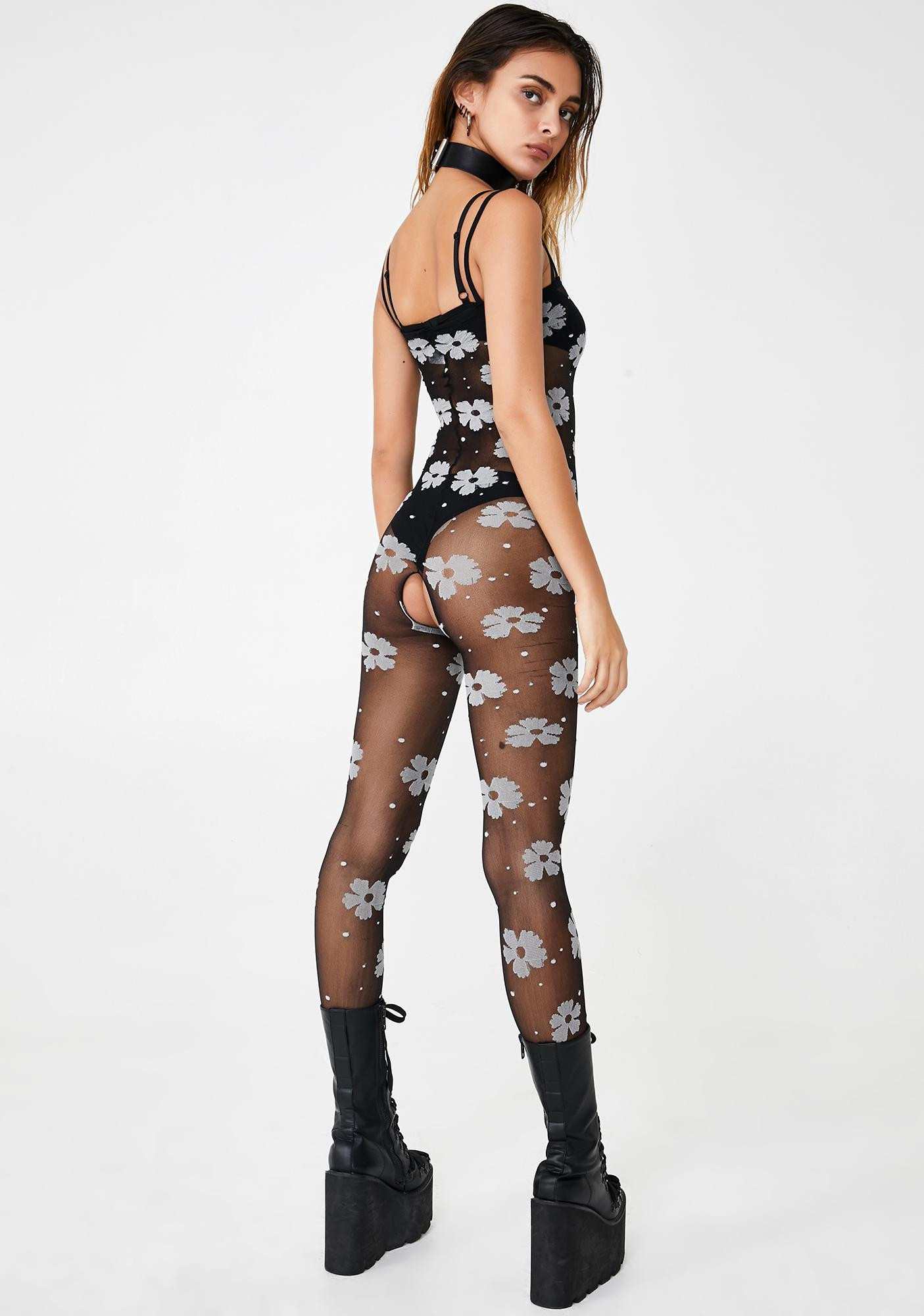 Floral Fixation Sheer Bodystocking
