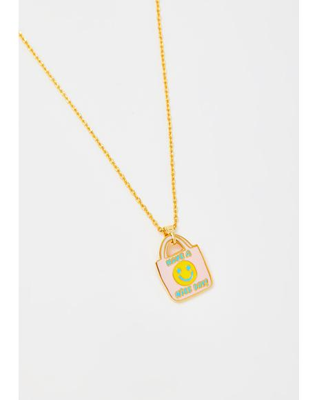 Have A Nice Day Pendant Gold Necklace