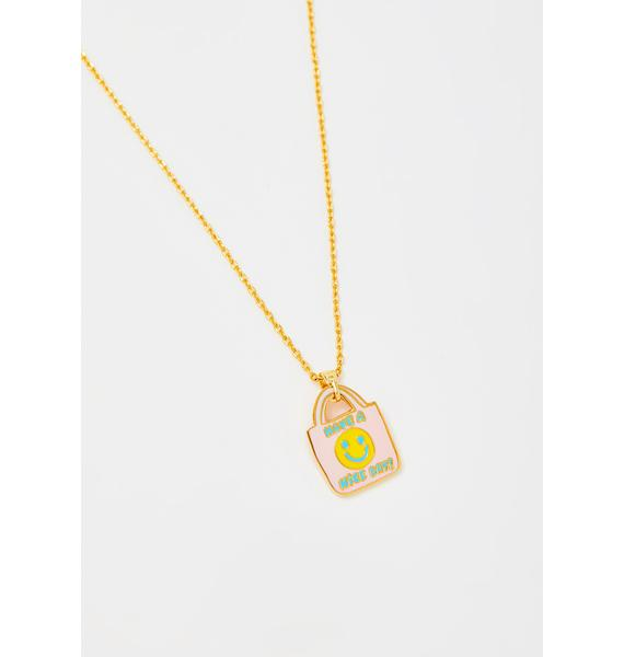 Yellow Owl Workshop Have A Nice Day Pendant Gold Necklace