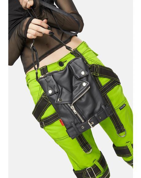 Faux Leather Motorcycle Shoulder Bag