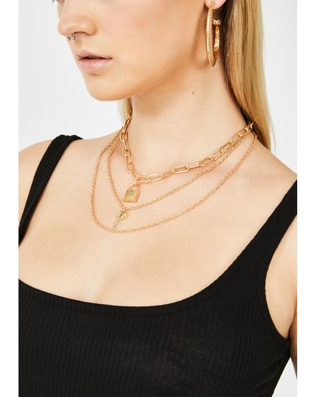 Love On Lock Layered Necklace
