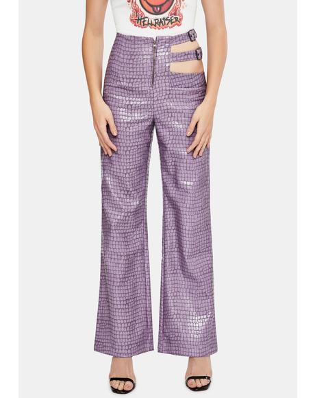 Lilac Tile Cut-Out Pants