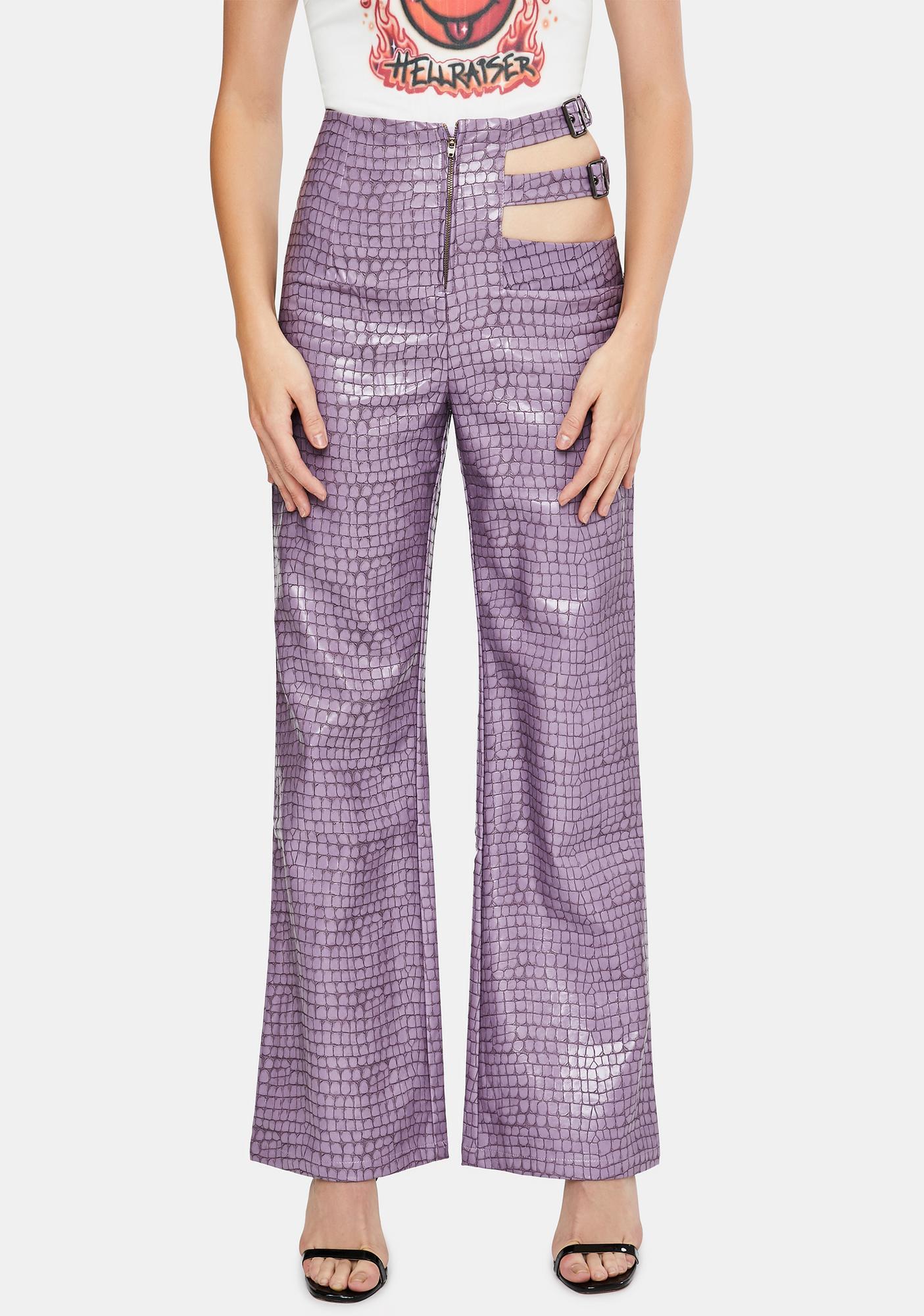 Sicko Cartel Lilac Tile Cut-Out Pants