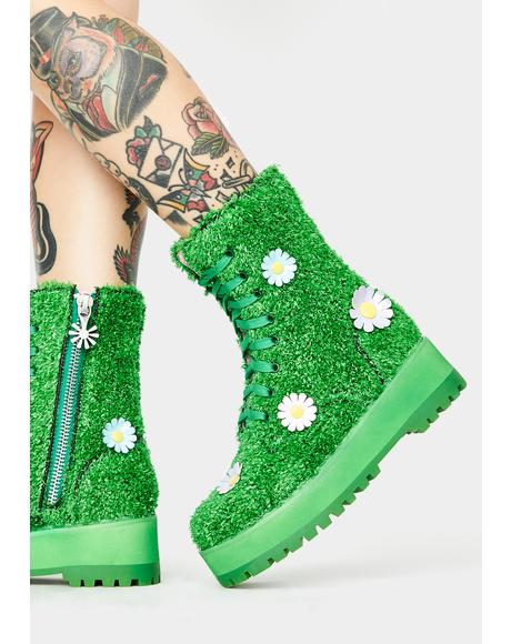 It's Always Greener Combat Boots