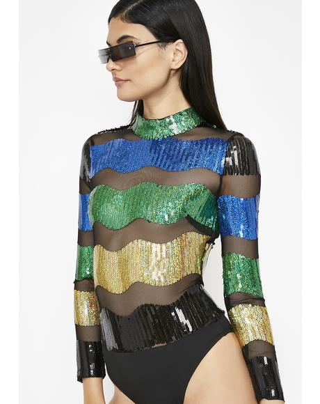 Wavy Energy Sequin Bodysuit