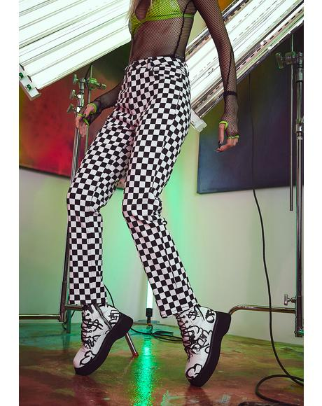 Chasing Thrills Checkered Jeans