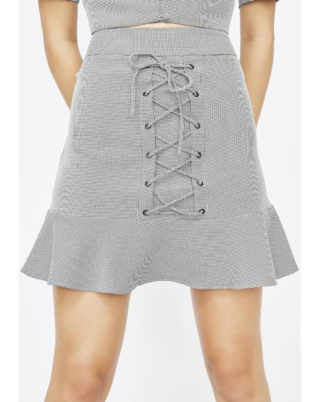 Office Flirt Lace Up Skirt