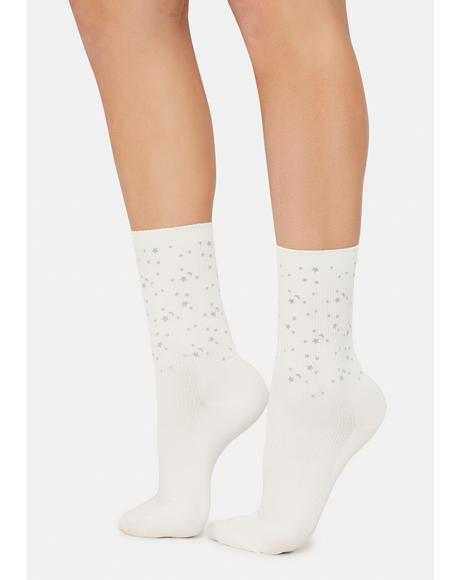 Blanc Bright Cosmos Reflective Star Crew Socks