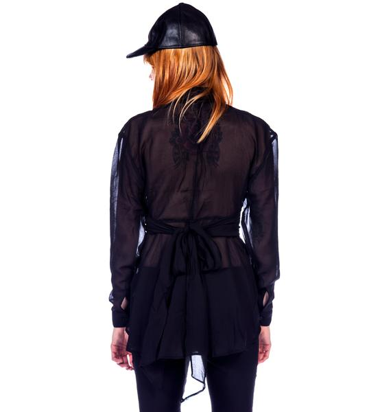 Widow Leather Waist Chiffon Top