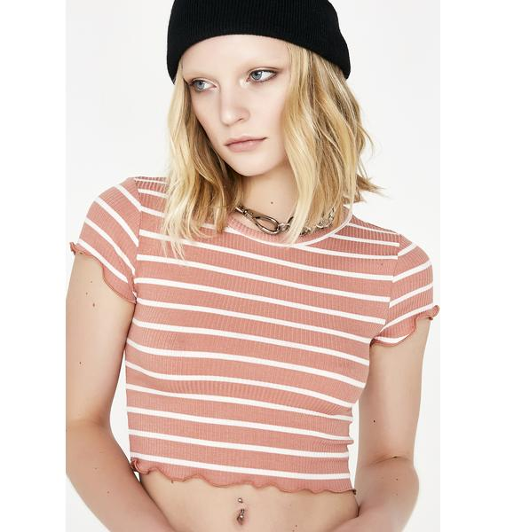 Coral Be Mellow Striped Top