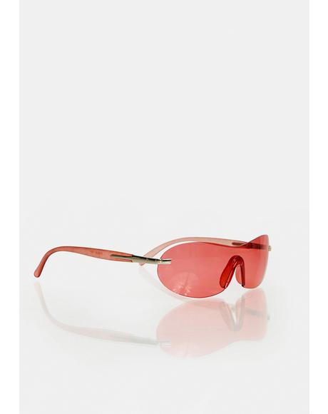 Red Curve Color Shield Sunglasses