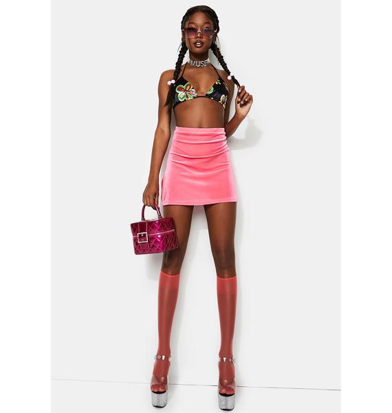 Treasure The Funk Velour Pink Mini Skirt