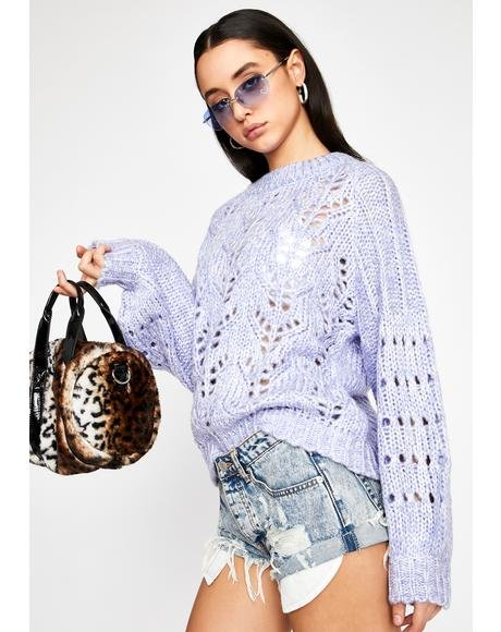 Lavender Too Cute To Cuddle Knit Sweater