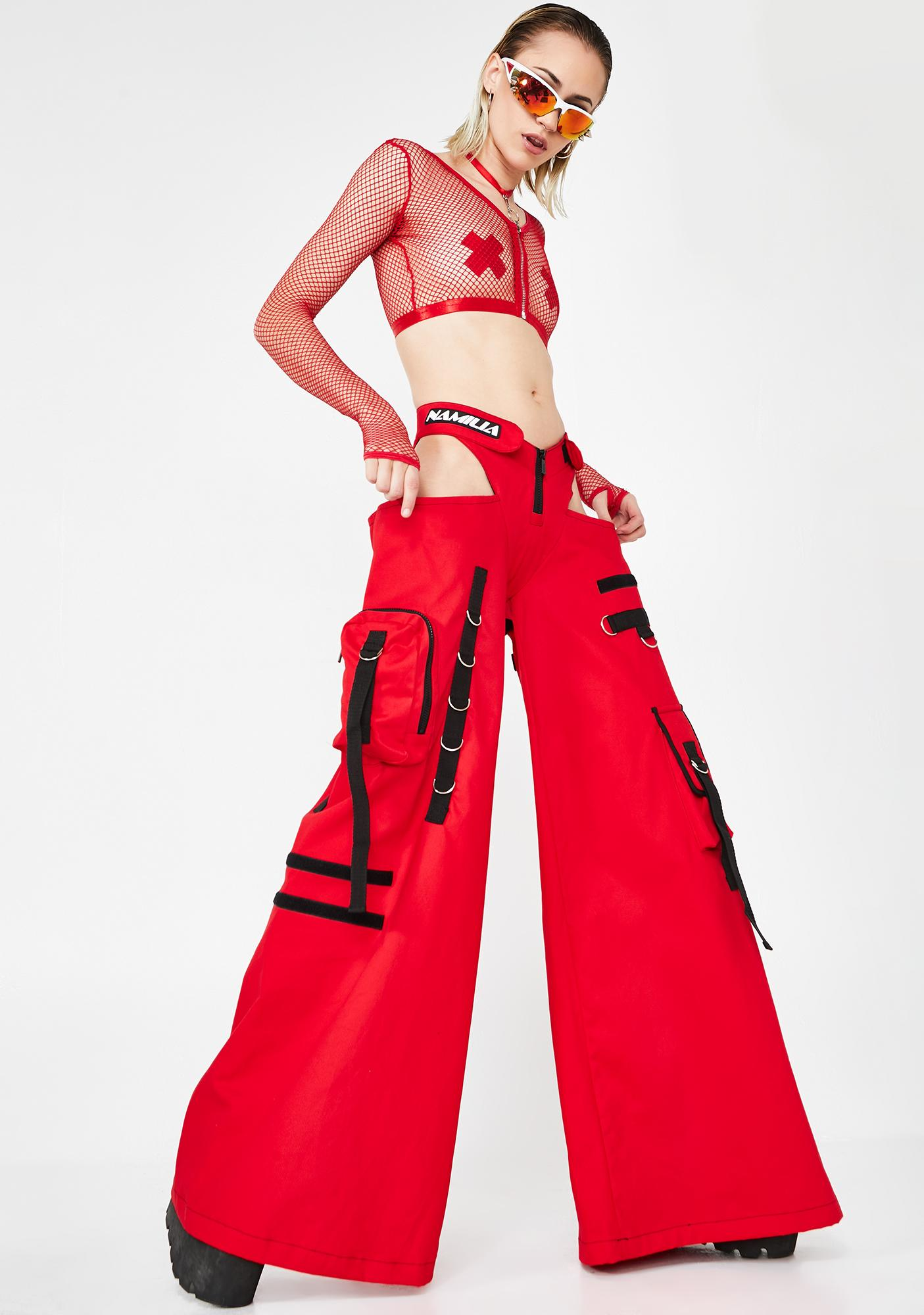 Namilia Red Canvas Rave Panty Trousers