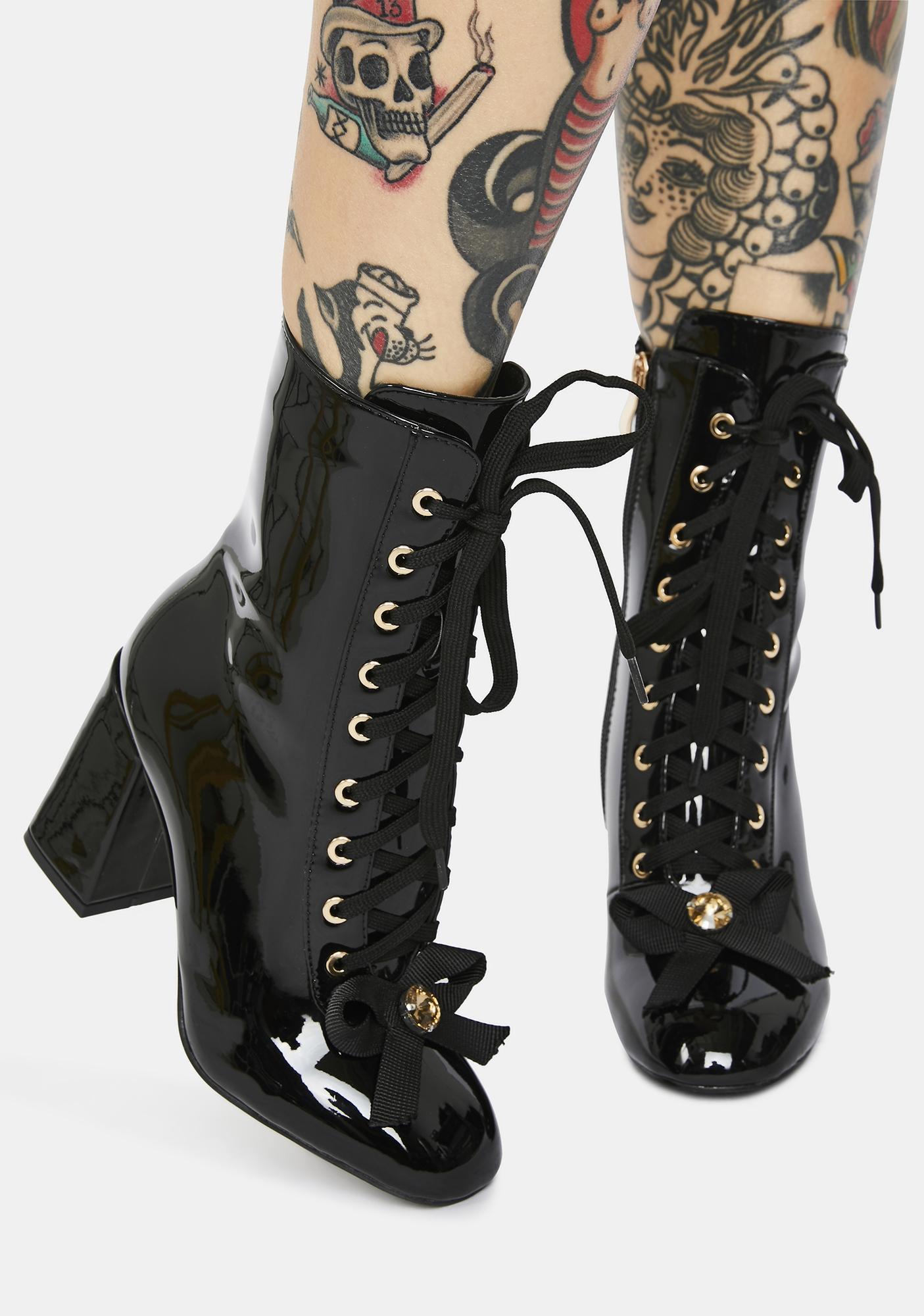 AZALEA WANG Black The One I Want Lace Up Boots
