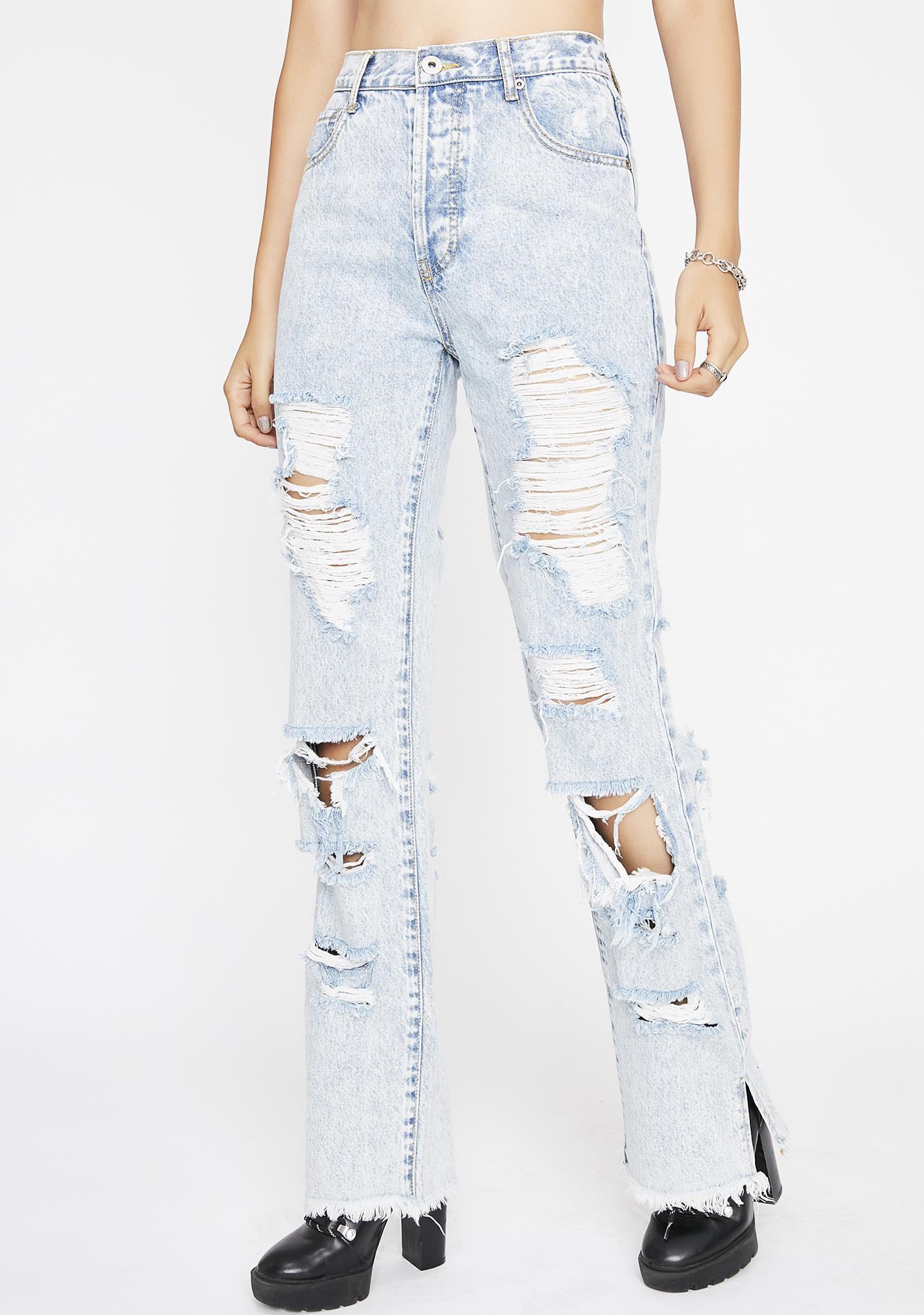 Stay Litty Distressed Jeans