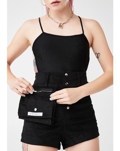Black Corduroy Cosmetics Case Shorts