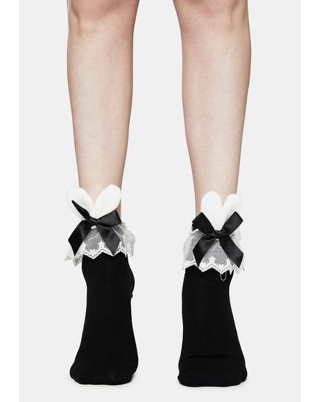 Noir Love Bunny Ruffle Socks