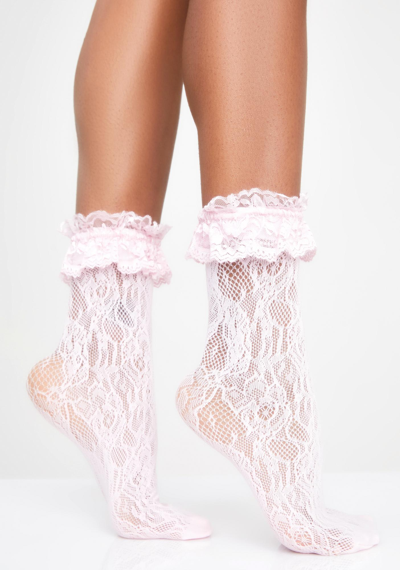 25aca87842 Ruffle Trim Lace Socks | Dolls Kill