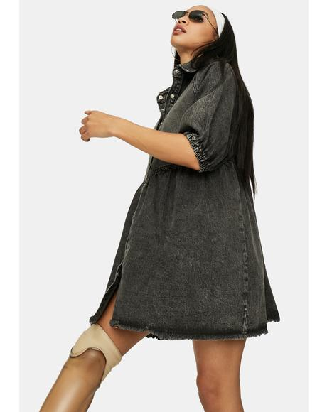 Noir Till You Make It Denim Babydoll Dress