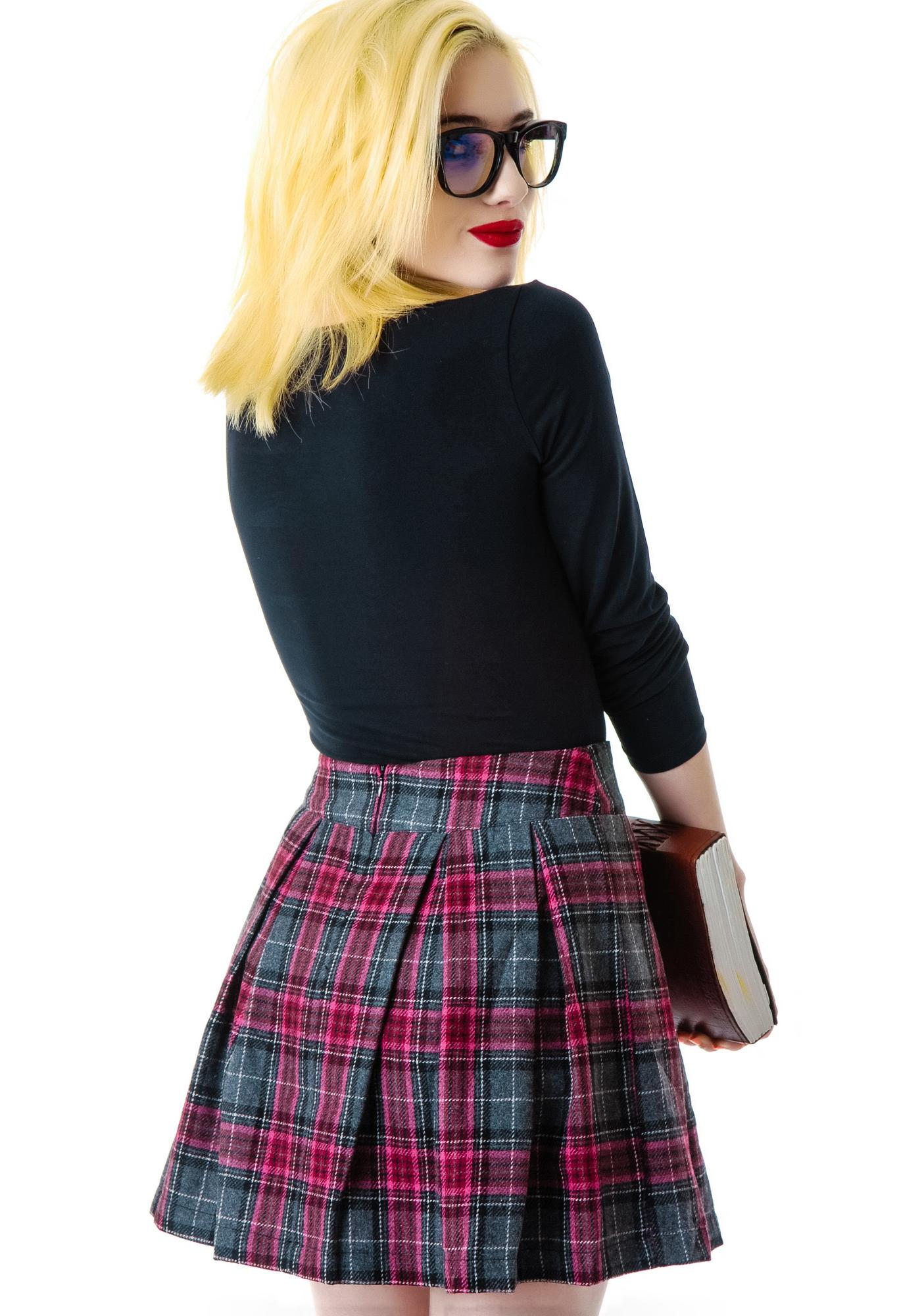 Cher Pleated Plaid Skirt