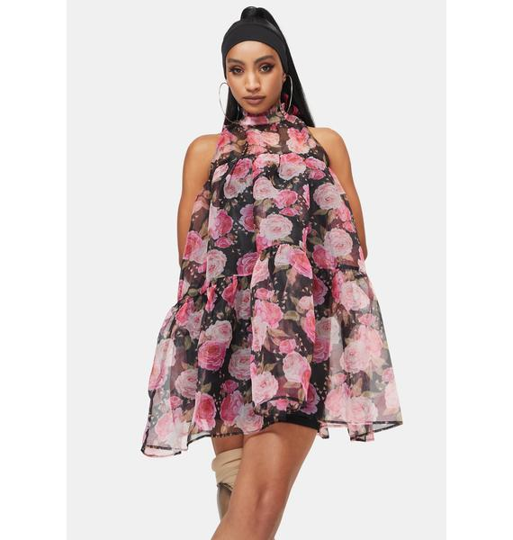 RARE LONDON Organza Floral Trapeze Dress