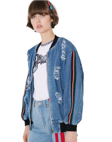 Street Smarts Distressed Denim Bomber Jacket