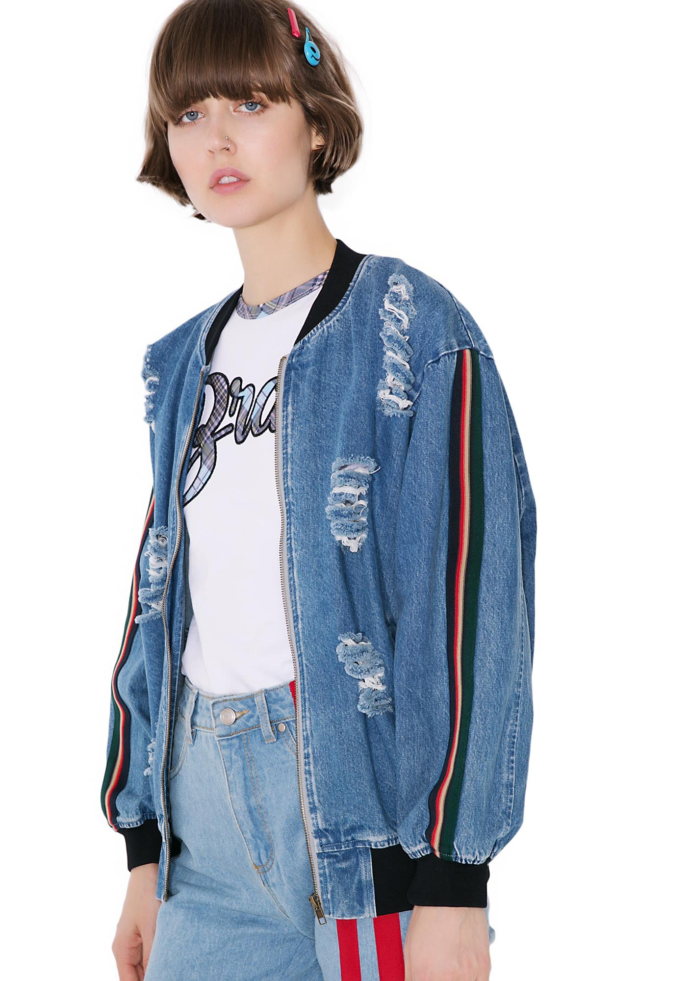 Distressed Denim Bomber Jacket | Dolls Kill