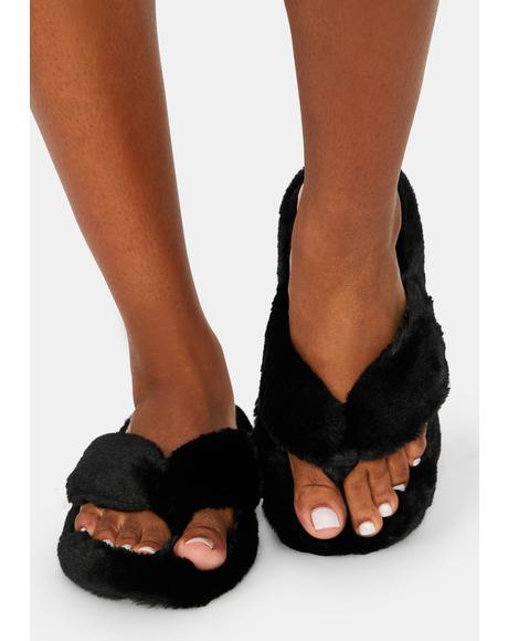 Onxy Worth Your While Fuzzy Sandals