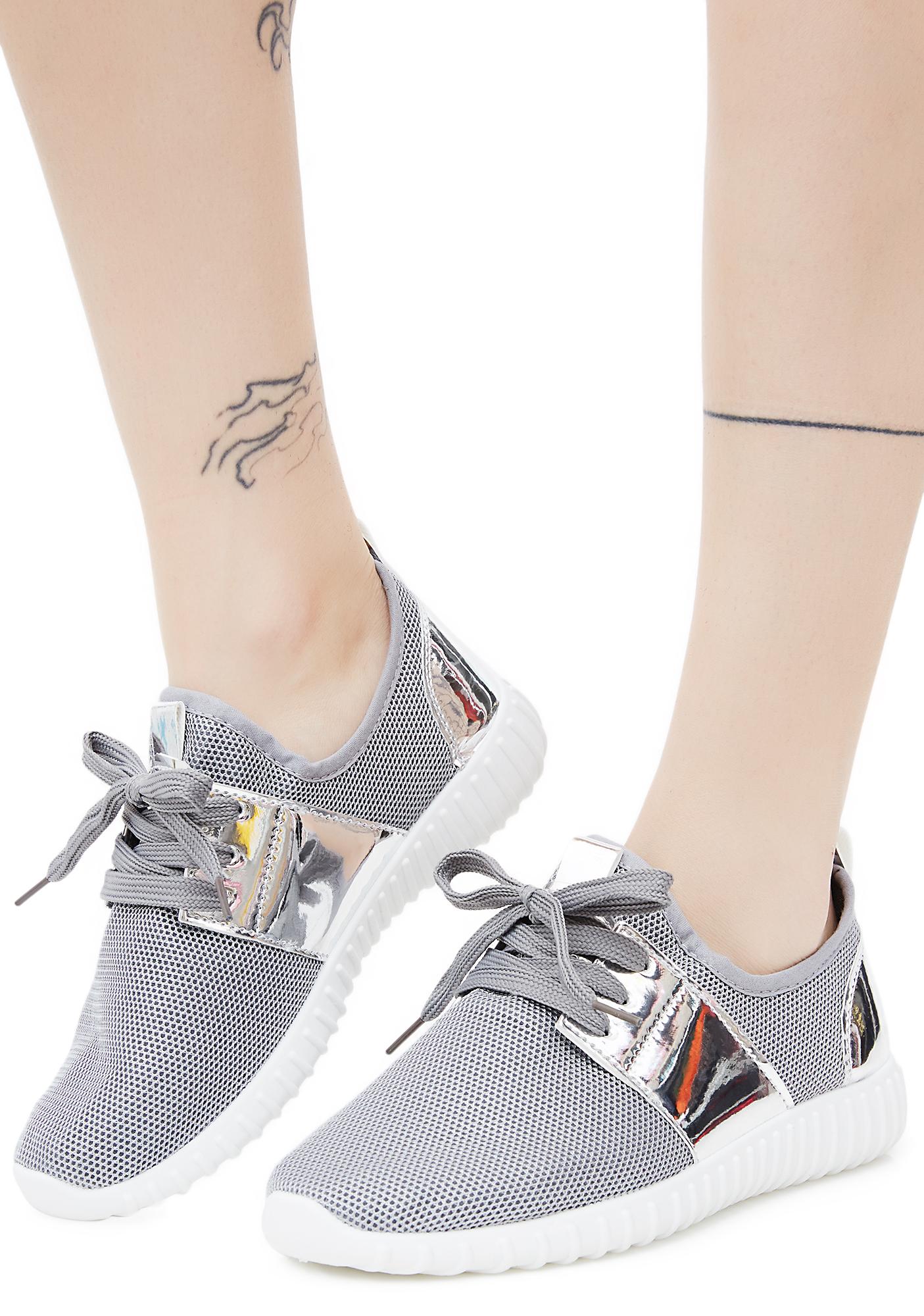 Mesh Metallic Silver Sneakers Gray