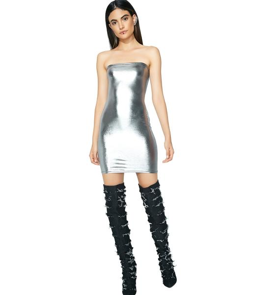 Fly N' Saucey Metallic Dress