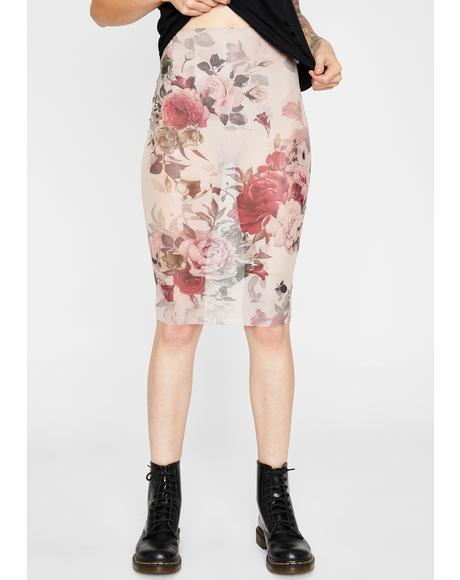 Late Bloomer Mesh Midi Skirt