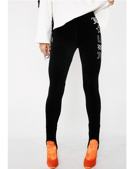 Stretch Velour JCLA Stirrup Leggings
