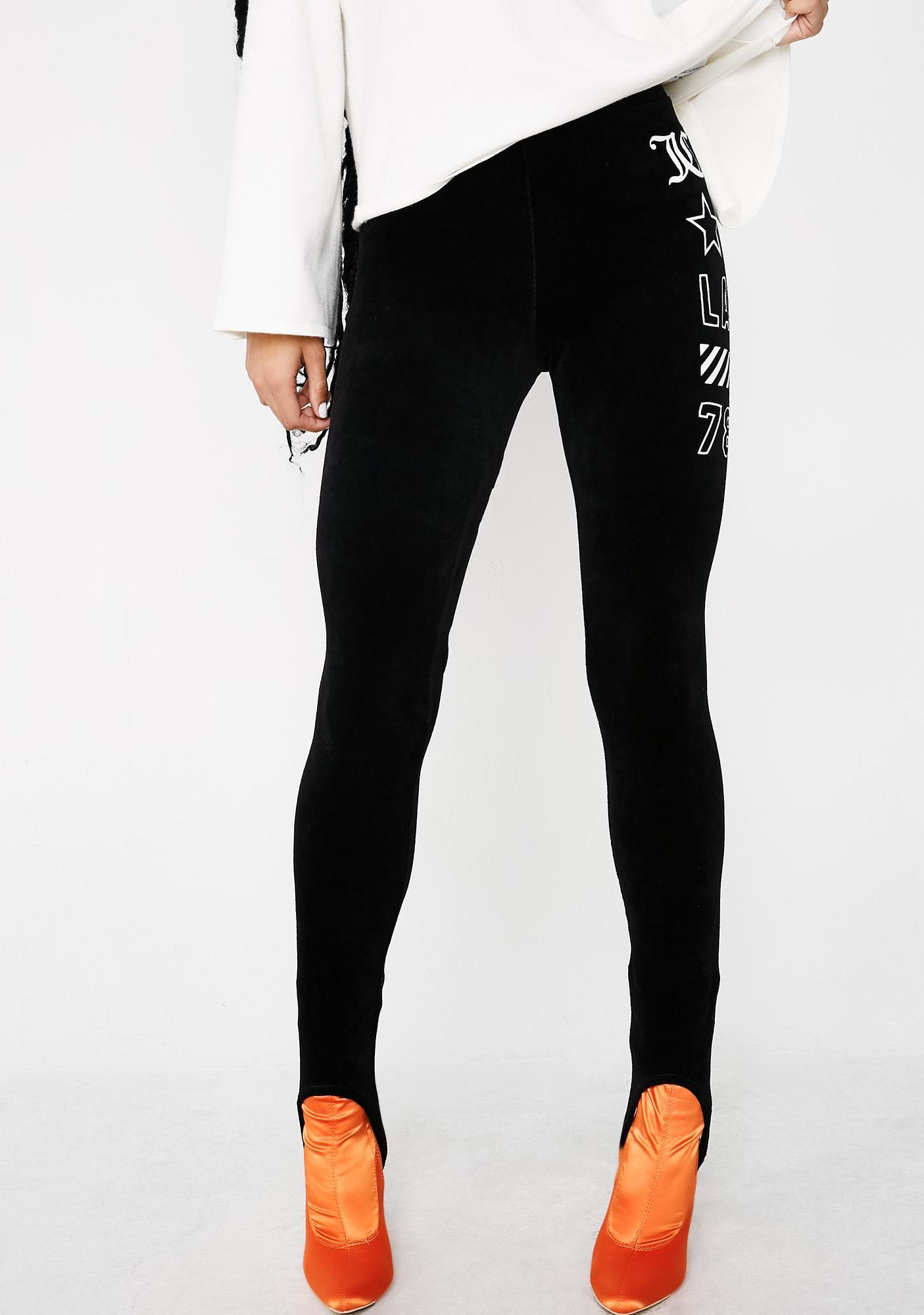 JUICY COUTURE Stretch Velour JCLA Stirrup Leggings