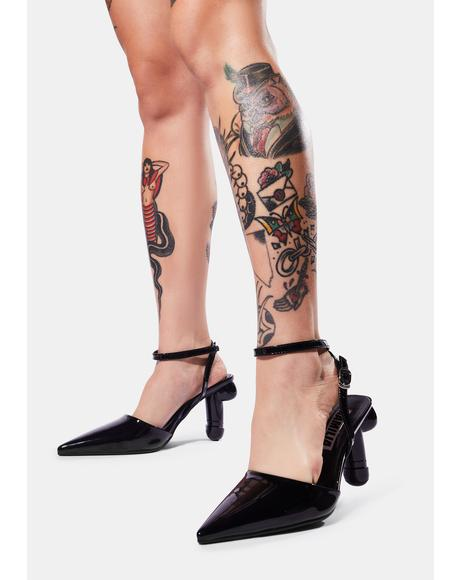 Black Patent Vegan Dick Heel Slingback Pumps