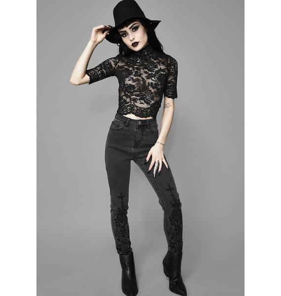 Widow Midnight Ominous Trance Lace Top
