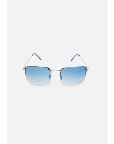 Blue Teardrop Oversized Sunglasses