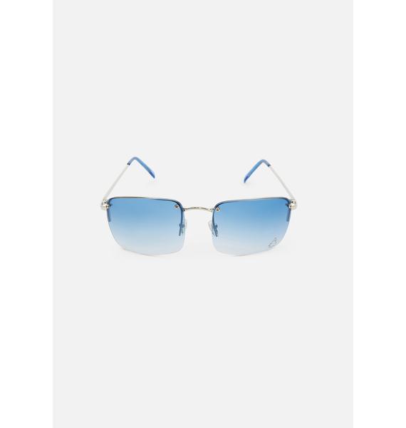 Good Times Eyewear Blue Teardrop Oversized Sunglasses