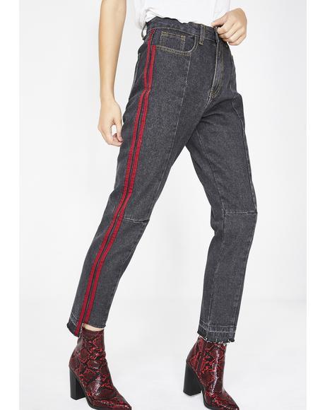 Washed Black Side Stripe Mom Jeans