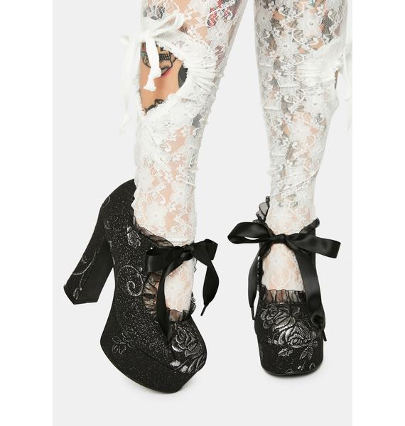 Widow Night Music Brocade Mary Jane Heels